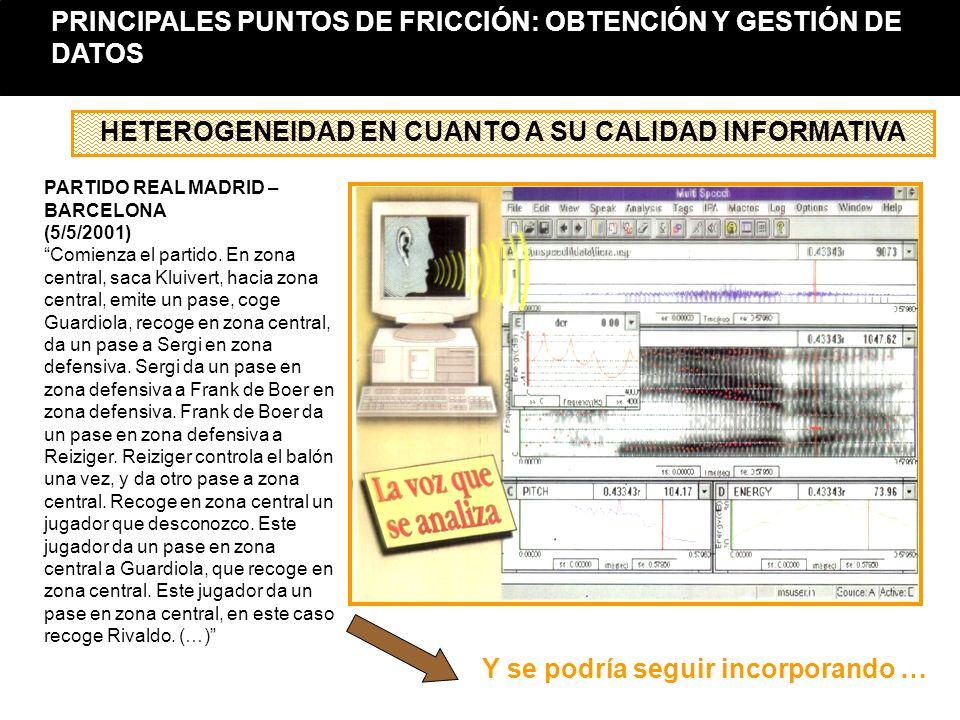HETEROGENEIDAD EN CUANTO A SU CALIDAD INFORMATIVA PARTIDO REAL MADRID – BARCELONA (5/5/2001) Comienza el partido. En zona central, saca Kluivert, haci