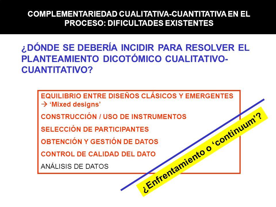 COMPLEMENTARIEDAD CUALITATIVA-CUANTITATIVA EN EL PROCESO: DIFICULTADES EXISTENTES EQUILIBRIO ENTRE DISEÑOS CLÁSICOS Y EMERGENTES Mixed designs CONSTRU