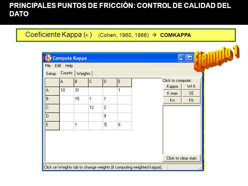 Control de la calidad del dato (12) Coeficiente Kappa ( ) (Cohen, 1960, 1966) COMKAPPA PRINCIPALES PUNTOS DE FRICCIÓN: CONTROL DE CALIDAD DEL DATO