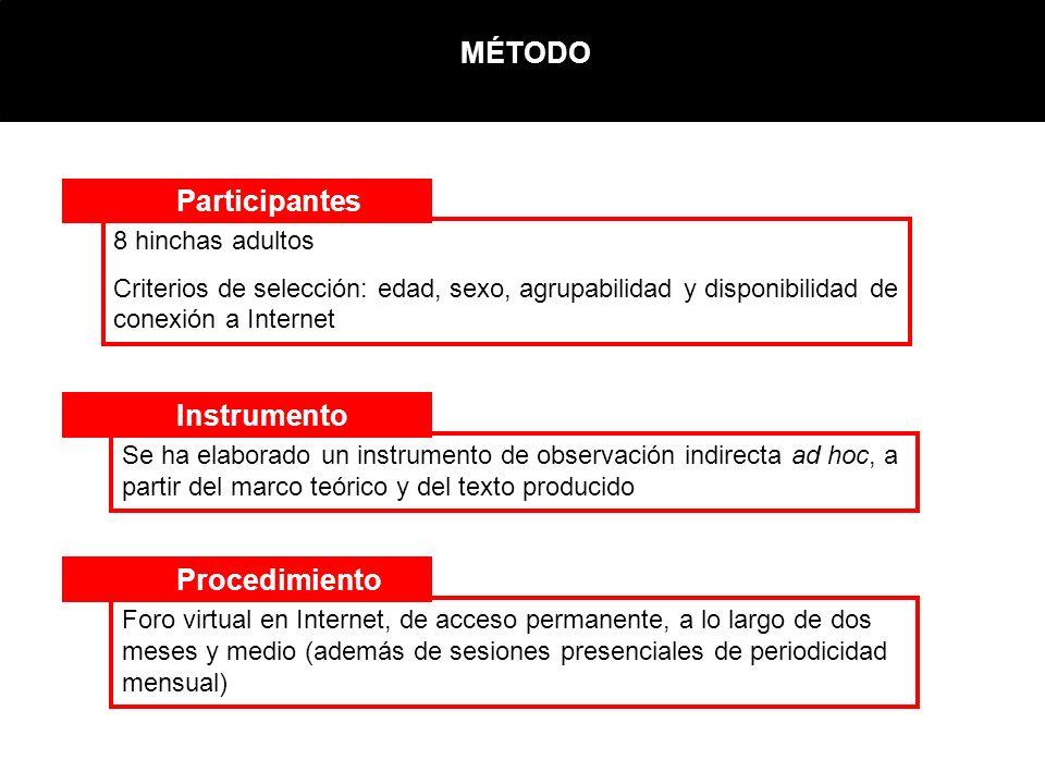 MÉTODO Participantes Instrumento Procedimiento Se ha elaborado un instrumento de observación indirecta ad hoc, a partir del marco teórico y del texto