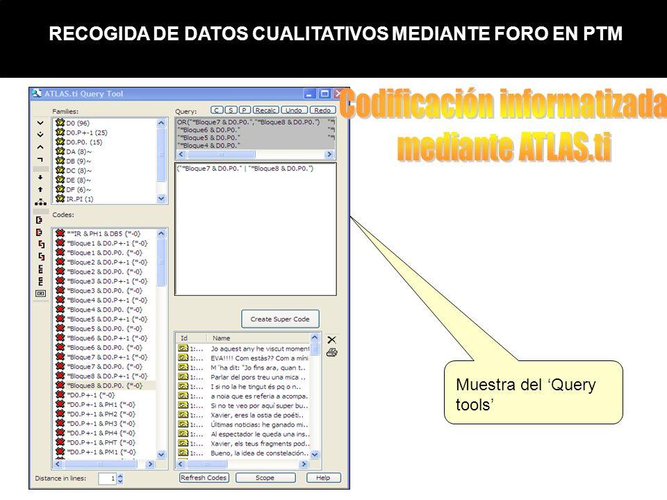 RECOGIDA DE DATOS CUALITATIVOS MEDIANTE FORO EN PTM Muestra del Query tools