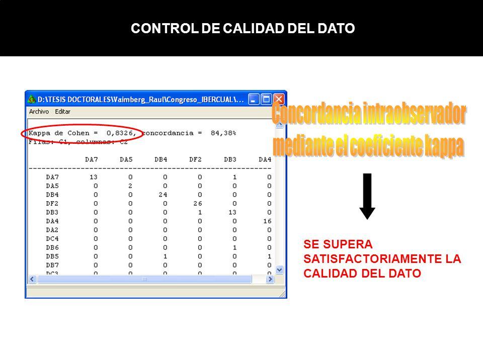 CONTROL DE CALIDAD DEL DATO SE SUPERA SATISFACTORIAMENTE LA CALIDAD DEL DATO