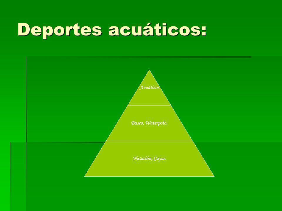 Deportes acuáticos: Acuáticos Buseo, Waterpolo, Natación, Cayac.