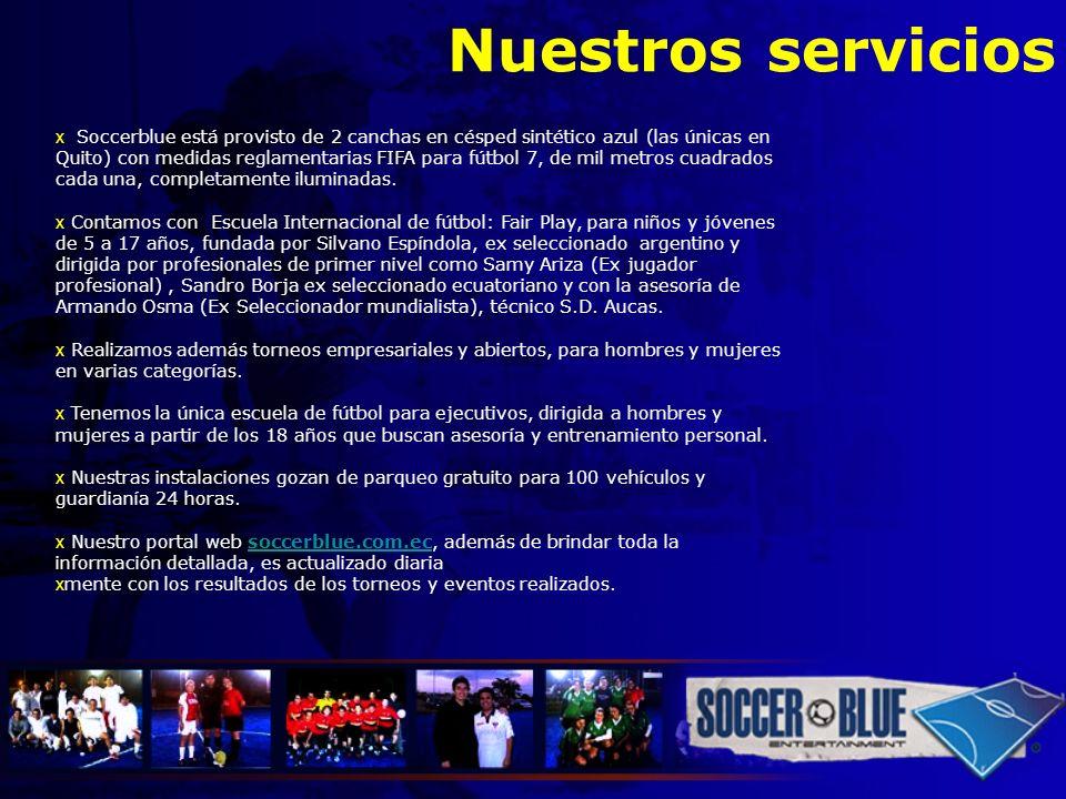 Nuestros servicios x Soccerblue está provisto de 2 canchas en césped sintético azul (las únicas en Quito) con medidas reglamentarias FIFA para fútbol
