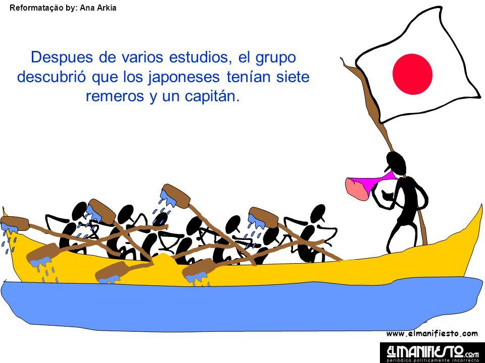 www.elmanifiesto.com Reformatação by: Ana Arkia Despues de varios estudios, el grupo descubrió que los japoneses tenían siete remeros y un capitán.
