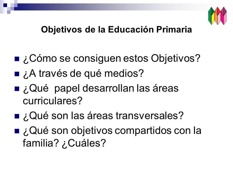 ¿Cómo se consiguen estos Objetivos? ¿A través de qué medios? ¿Qué papel desarrollan las áreas curriculares? ¿Qué son las áreas transversales? ¿Qué son