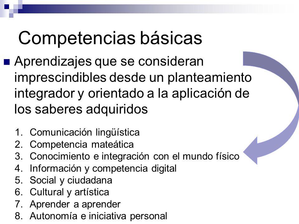 Competencias básicas Aprendizajes que se consideran imprescindibles desde un planteamiento integrador y orientado a la aplicación de los saberes adqui
