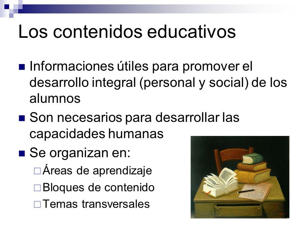 Los contenidos educativos Informaciones útiles para promover el desarrollo integral (personal y social) de los alumnos Son necesarios para desarrollar