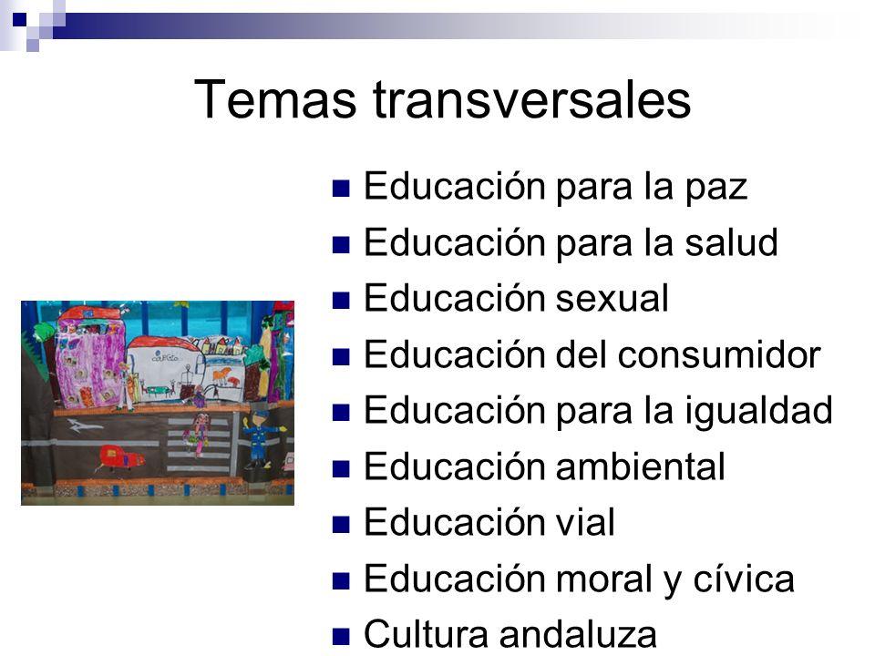 Temas transversales Educación para la paz Educación para la salud Educación sexual Educación del consumidor Educación para la igualdad Educación ambiental Educación vial Educación moral y cívica Cultura andaluza