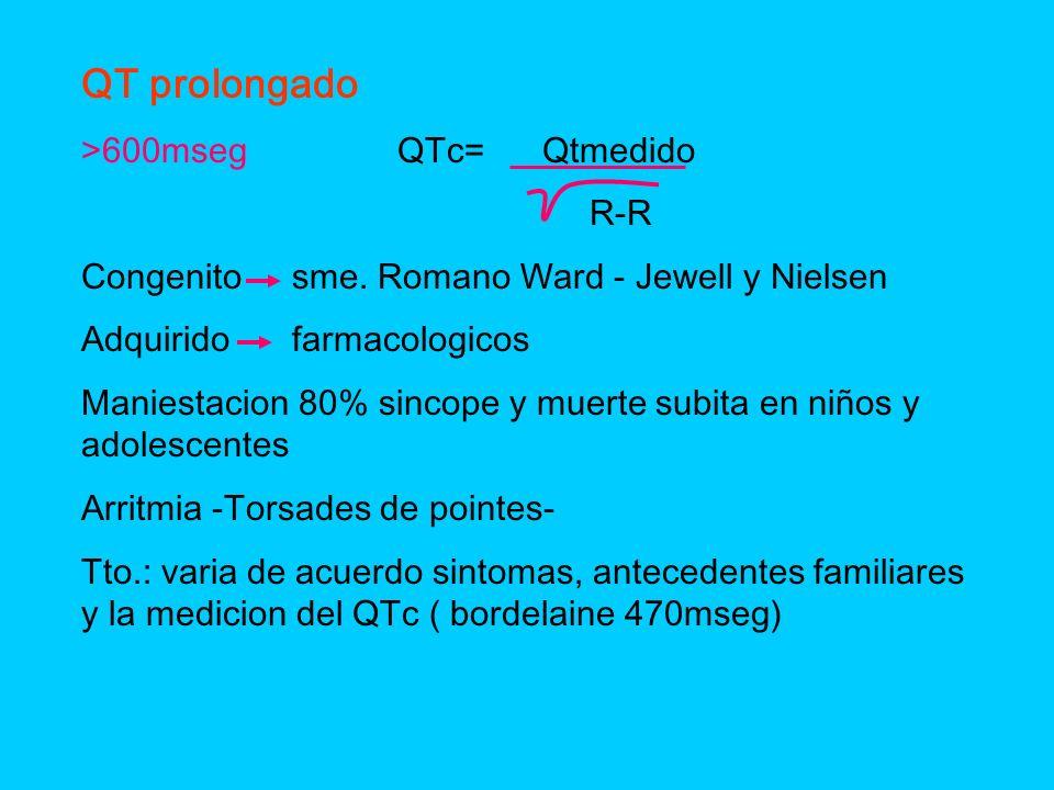 QT prolongado >600mseg QTc= Qtmedido R-R Congenitosme. Romano Ward - Jewell y Nielsen Adquiridofarmacologicos Maniestacion 80% sincope y muerte subita
