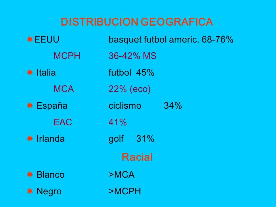 DISTRIBUCION GEOGRAFICA EEUUbasquet futbol americ. 68-76% MCPH36-42% MS Italiafutbol45% MCA22% (eco) Españaciclismo34% EAC41% Irlandagolf31% Racial Bl