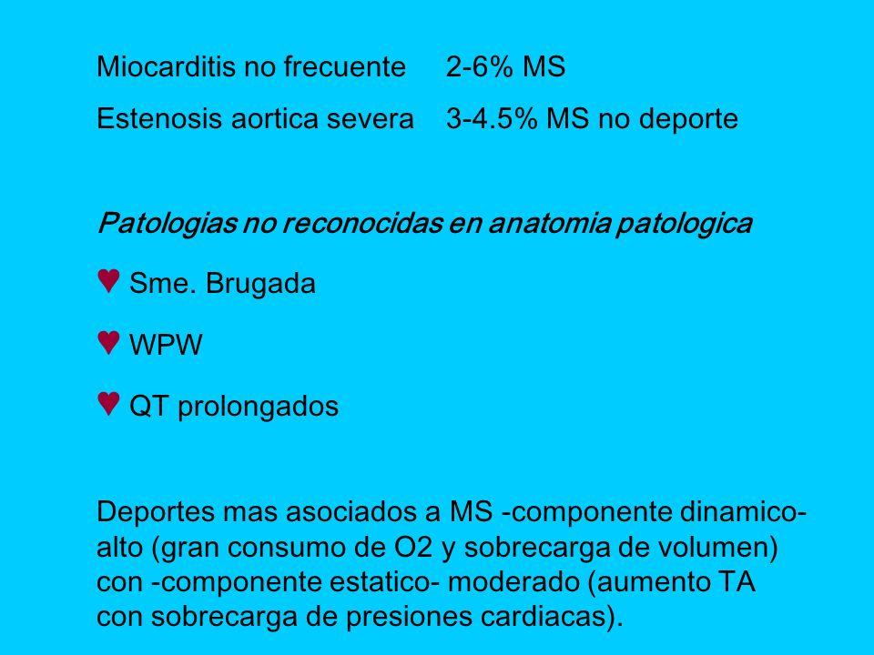 Miocarditis no frecuente2-6% MS Estenosis aortica severa3-4.5% MS no deporte Patologias no reconocidas en anatomia patologica Sme. Brugada WPW QT prol