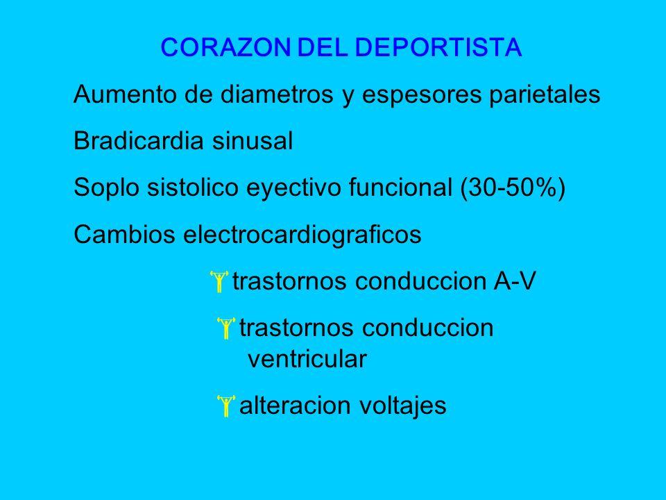 CORAZON DEL DEPORTISTA Aumento de diametros y espesores parietales Bradicardia sinusal Soplo sistolico eyectivo funcional (30-50%) Cambios electrocard