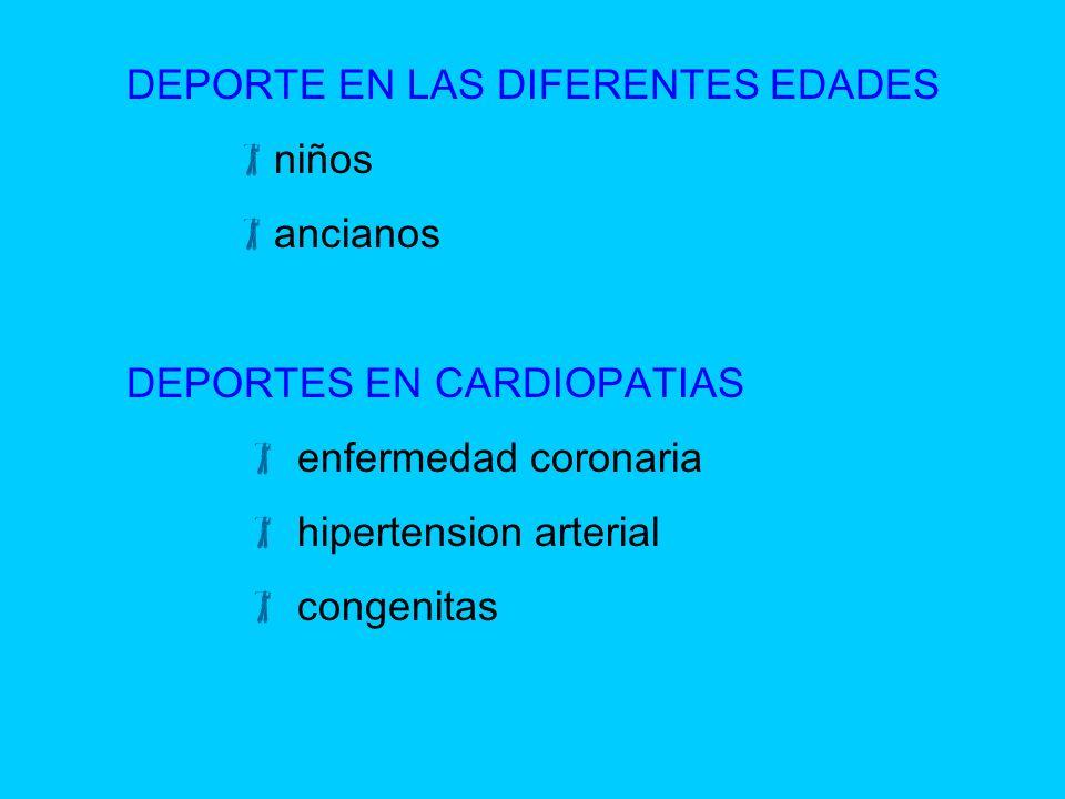 DEPORTE EN LAS DIFERENTES EDADES niños ancianos DEPORTES EN CARDIOPATIAS enfermedad coronaria hipertension arterial congenitas