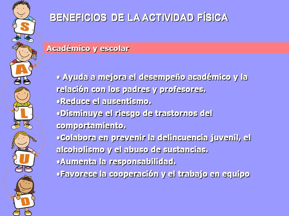 BENEFICIOS DE LA ACTIVIDAD FÍSICA Académico y escolar Ayuda a mejora el desempeño académico y la relación con los padres y profesores.