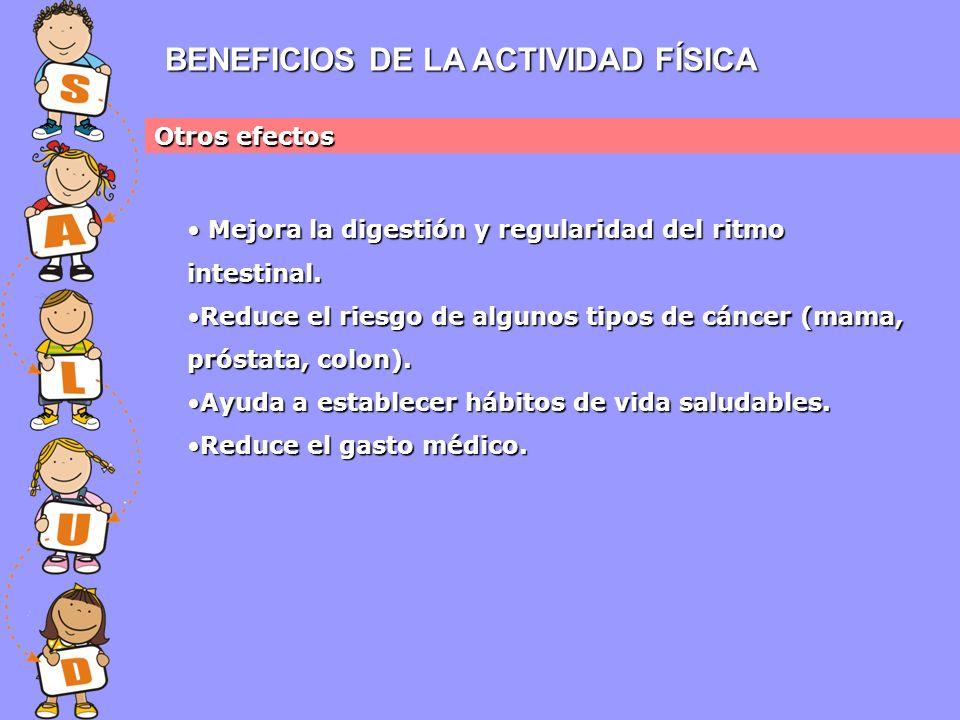 BENEFICIOS DE LA ACTIVIDAD FÍSICA Otros efectos Mejora la digestión y regularidad del ritmo intestinal.