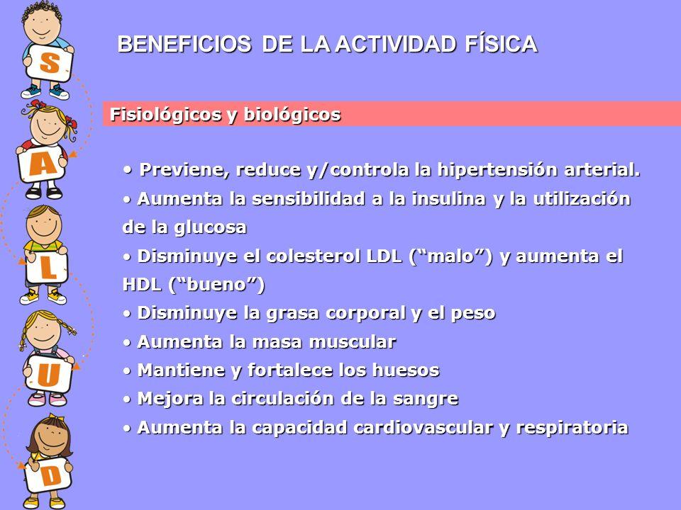BENEFICIOS DE LA ACTIVIDAD FÍSICA Fisiológicos y biológicos Previene, reduce y/controla la hipertensión arterial.