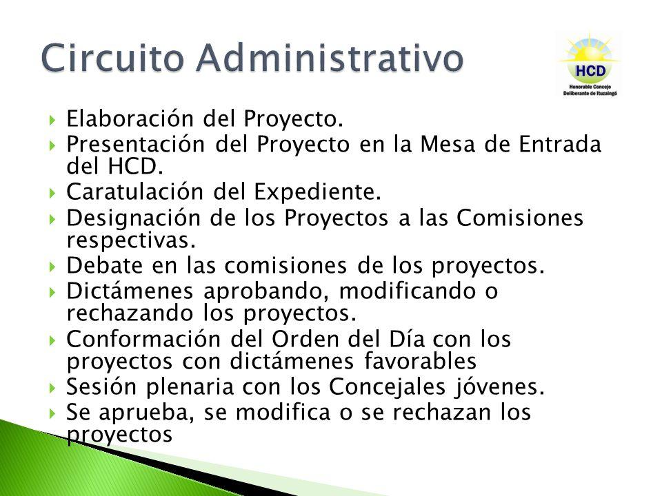 Elaboración del Proyecto. Presentación del Proyecto en la Mesa de Entrada del HCD. Caratulación del Expediente. Designación de los Proyectos a las Com