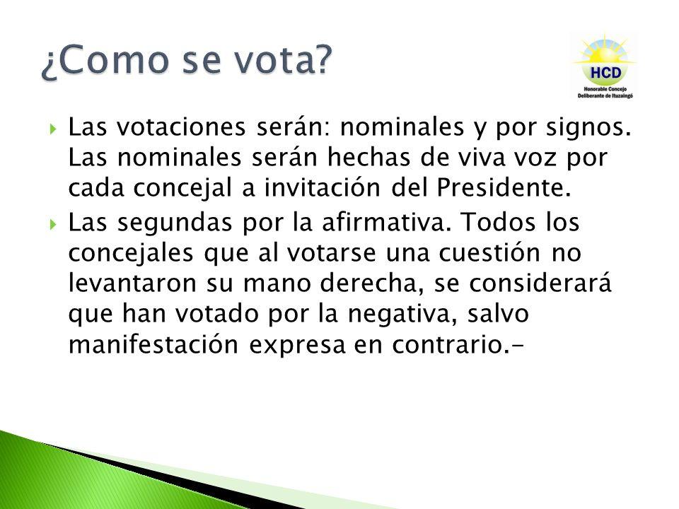 Las votaciones serán: nominales y por signos. Las nominales serán hechas de viva voz por cada concejal a invitación del Presidente. Las segundas por l