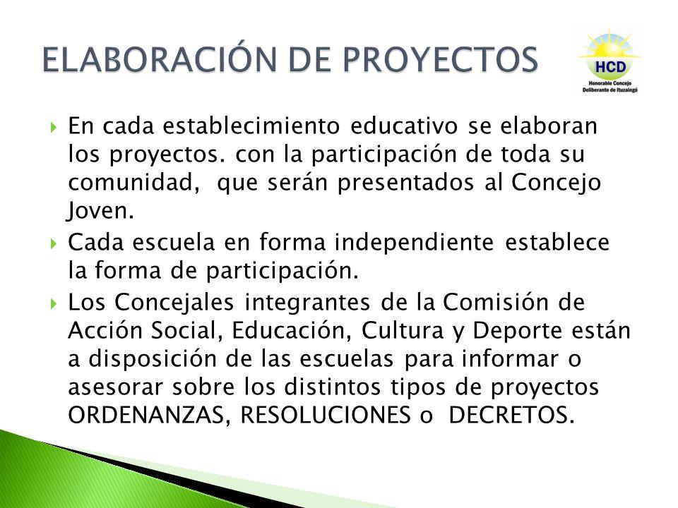 En cada establecimiento educativo se elaboran los proyectos. con la participación de toda su comunidad, que serán presentados al Concejo Joven. Cada e