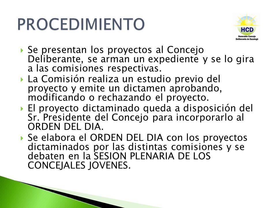 Se presentan los proyectos al Concejo Deliberante, se arman un expediente y se lo gira a las comisiones respectivas. La Comisión realiza un estudio pr