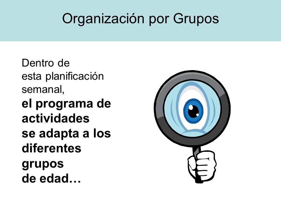 Dentro de esta planificación semanal, el programa de actividades se adapta a los diferentes grupos de edad… Organización por Grupos