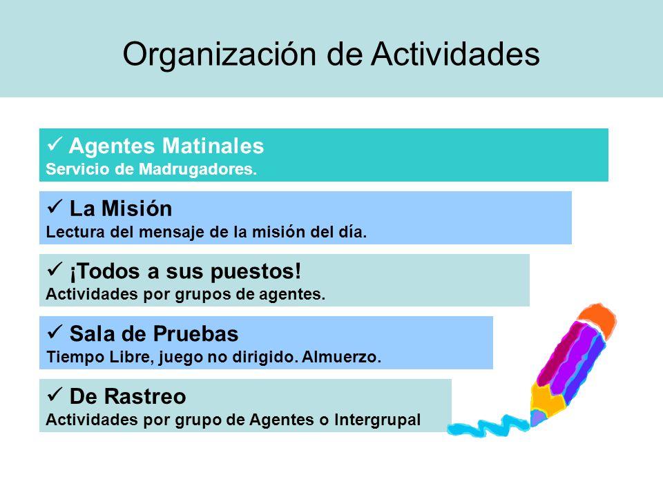 Organización de Actividades Agentes Matinales Servicio de Madrugadores. La Misión Lectura del mensaje de la misión del día. ¡Todos a sus puestos! Acti