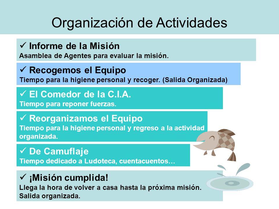 Organización de Actividades Informe de la Misión Asamblea de Agentes para evaluar la misión. Recogemos el Equipo Tiempo para la higiene personal y rec