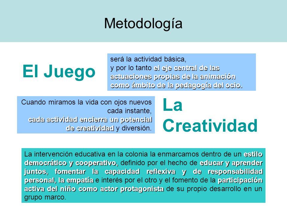 Metodología El Juego La Creatividad será la actividad básica, el eje central de las actuaciones propias de la animación como ámbito de la pedagogía de