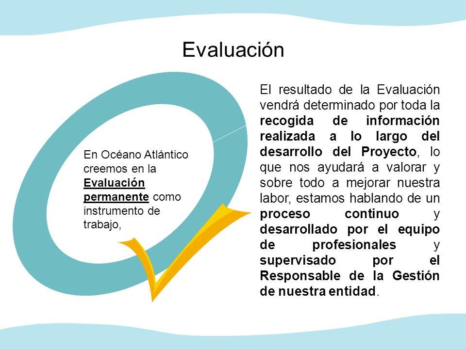 Evaluación El resultado de la Evaluación vendrá determinado por toda la recogida de información realizada a lo largo del desarrollo del Proyecto, lo q