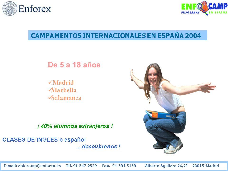 CAMPAMENTOS INTERNACIONALES EN ESPAÑA 2004 De 5 a 18 años Madrid Marbella Salamanca ¡ 40% alumnos extranjeros ! CLASES DE INGLES o español...descúbren