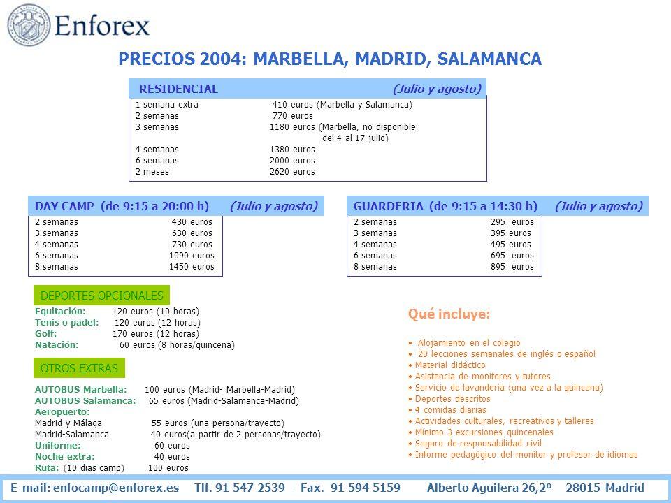 PRECIOS 2004: MARBELLA, MADRID, SALAMANCA 1 semana extra 410 euros (Marbella y Salamanca) 2 semanas 770 euros 3 semanas 1180 euros (Marbella, no dispo