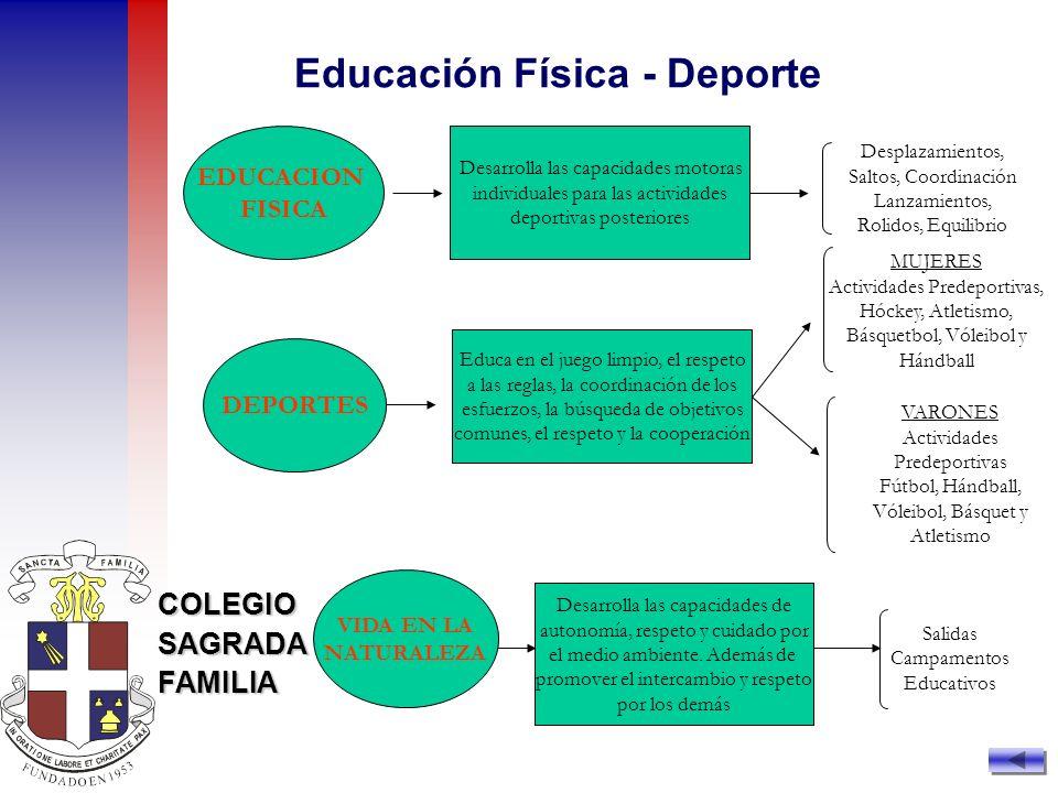 COLEGIOSAGRADAFAMILIA EDUCACION FISICA DEPORTES Desarrolla las capacidades motoras individuales para las actividades deportivas posteriores Educa en e