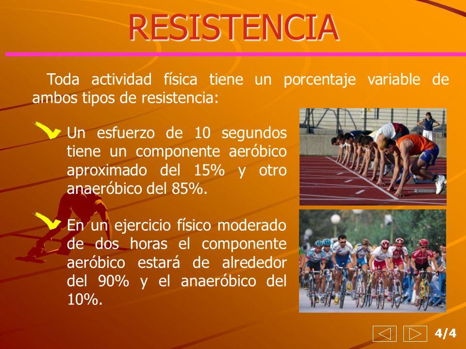 RESISTENCIA Toda actividad física tiene un porcentaje variable de ambos tipos de resistencia: 4/4 Un esfuerzo de 10 segundos tiene un componente aerób