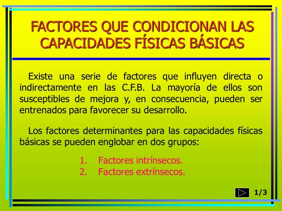 1.Factores intrínsecos. 2.Factores extrínsecos. FACTORES QUE CONDICIONAN LAS CAPACIDADES FÍSICAS BÁSICAS Existe una serie de factores que influyen dir