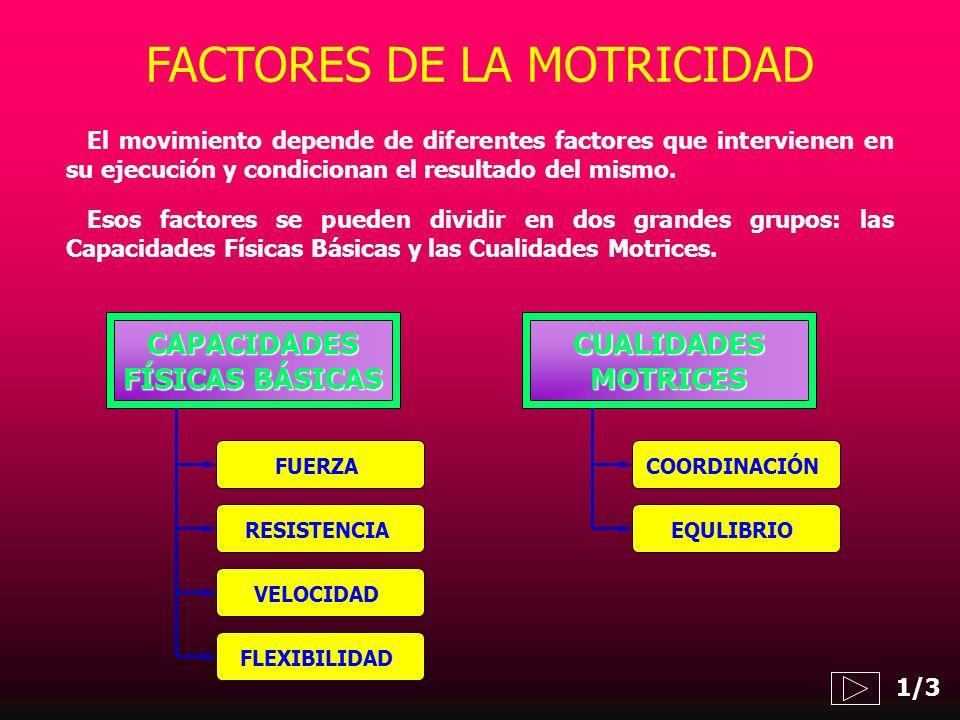 CAPACIDADES FÍSICAS BÁSICAS FUERZA CUALIDADESMOTRICES El movimiento depende de diferentes factores que intervienen en su ejecución y condicionan el re