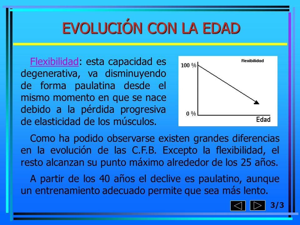 EVOLUCIÓN CON LA EDAD Flexibilidad: esta capacidad es degenerativa, va disminuyendo de forma paulatina desde el mismo momento en que se nace debido a