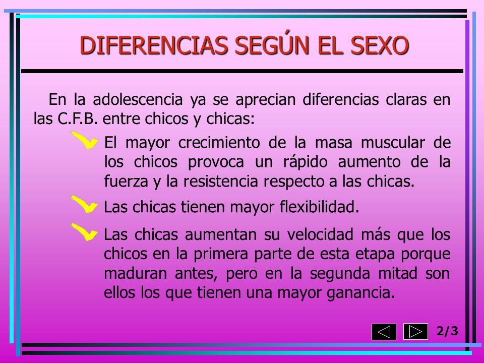 2/3 En la adolescencia ya se aprecian diferencias claras en las C.F.B. entre chicos y chicas: El mayor crecimiento de la masa muscular de los chicos p