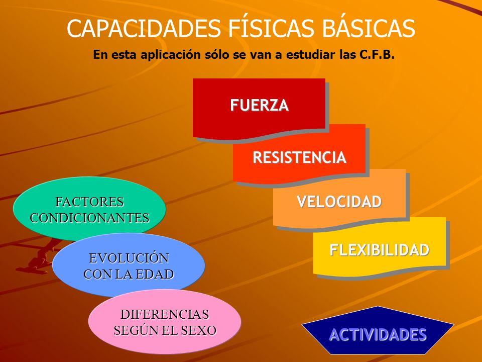 CAPACIDADES FÍSICAS BÁSICAS En esta aplicación sólo se van a estudiar las C.F.B. FUERZA RESISTENCIA FLEXIBILIDAD VELOCIDAD FACTORES CONDICIONANTES EVO