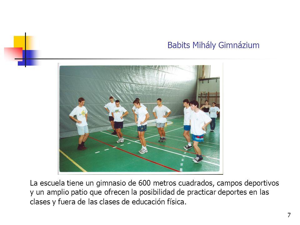 7 La escuela tiene un gimnasio de 600 metros cuadrados, campos deportivos y un amplio patio que ofrecen la posibilidad de practicar deportes en las clases y fuera de las clases de educación física.