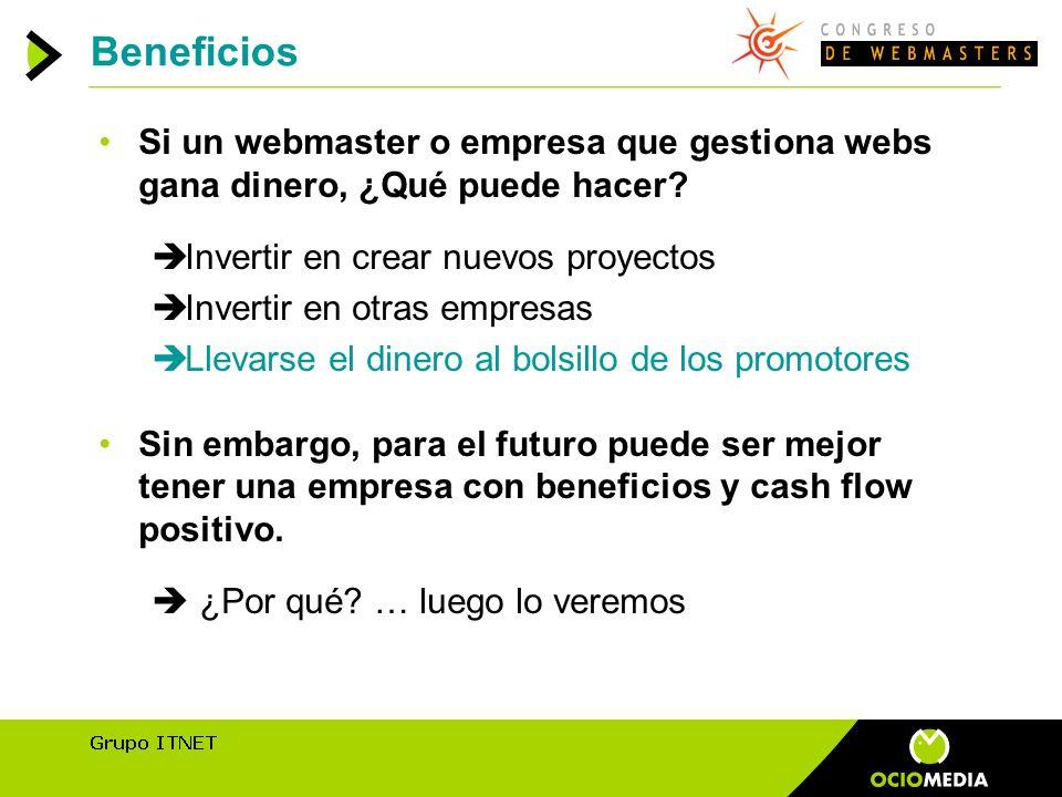 Beneficios Si un webmaster o empresa que gestiona webs gana dinero, ¿Qué puede hacer.