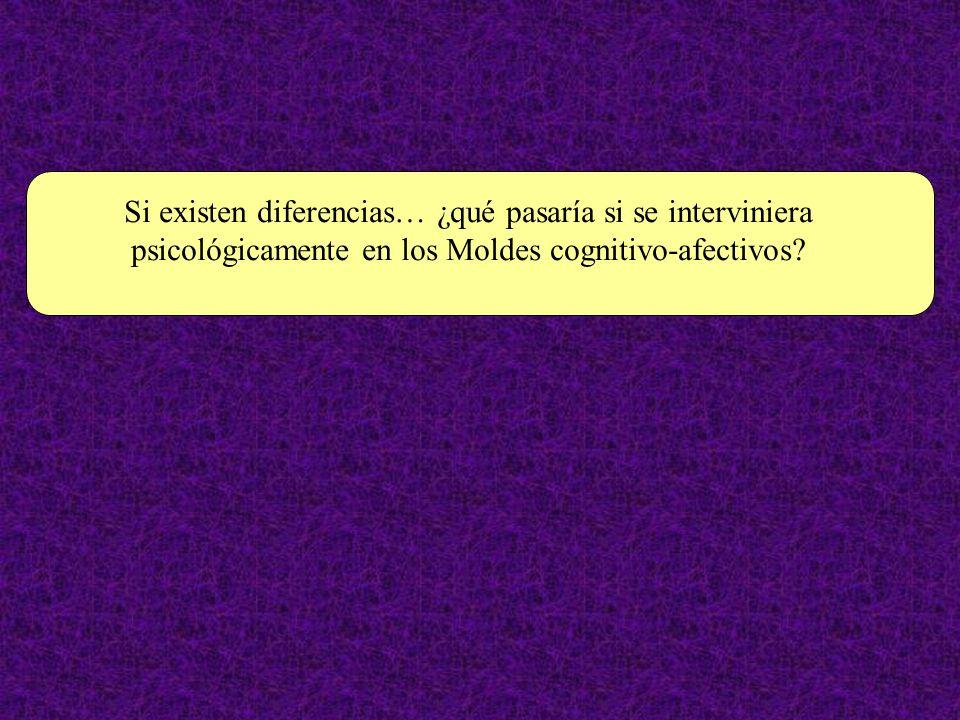 Si existen diferencias… ¿qué pasaría si se interviniera psicológicamente en los Moldes cognitivo-afectivos