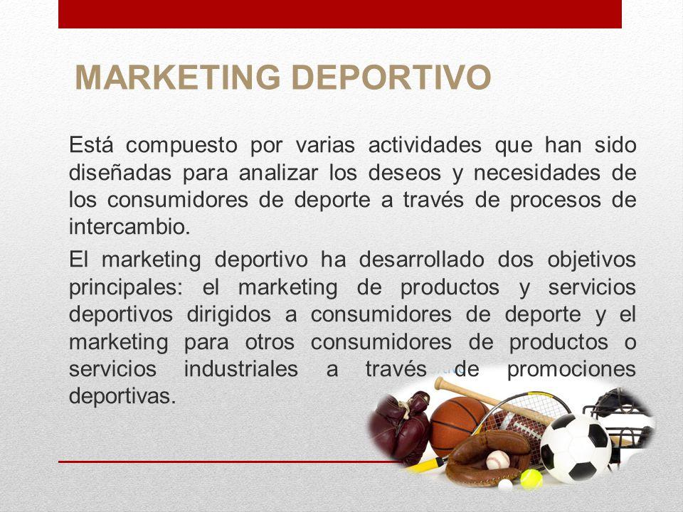 MARKETING DE PRODUCTOS El marketing deportivo se refiere en general a la aplicación específica de los principios y procesos de las técnicas de marketing a los productos deportivos tales como: accesorios, equipos, ropa, eventos, patrocinios, entre otros.