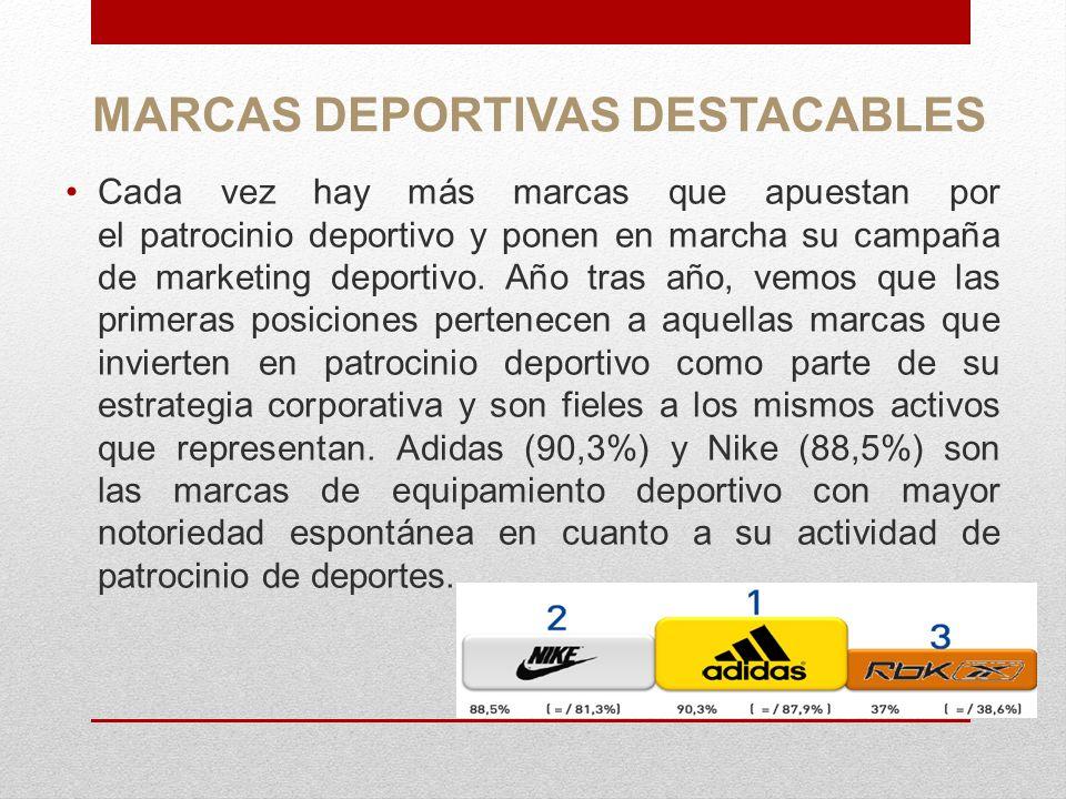 MARCAS DEPORTIVAS DESTACABLES Cada vez hay más marcas que apuestan por el patrocinio deportivo y ponen en marcha su campaña de marketing deportivo. Añ