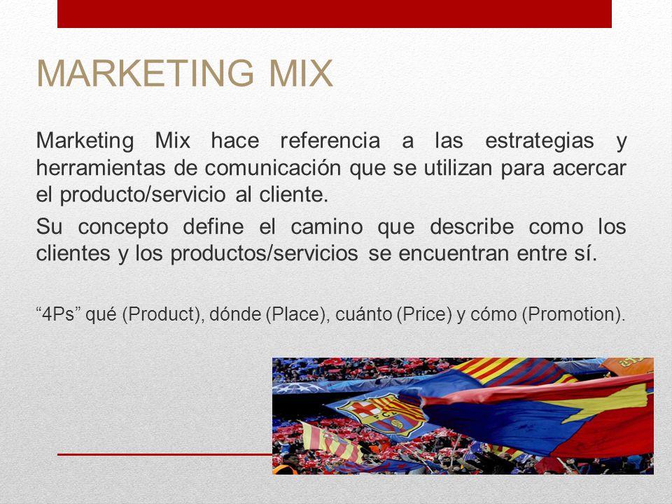 MARKETING MIX Marketing Mix hace referencia a las estrategias y herramientas de comunicación que se utilizan para acercar el producto/servicio al clie