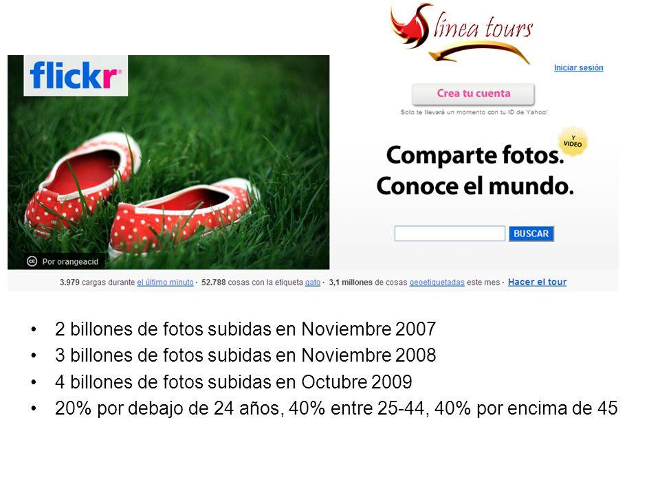 2 billones de fotos subidas en Noviembre 2007 3 billones de fotos subidas en Noviembre 2008 4 billones de fotos subidas en Octubre 2009 20% por debajo de 24 años, 40% entre 25-44, 40% por encima de 45