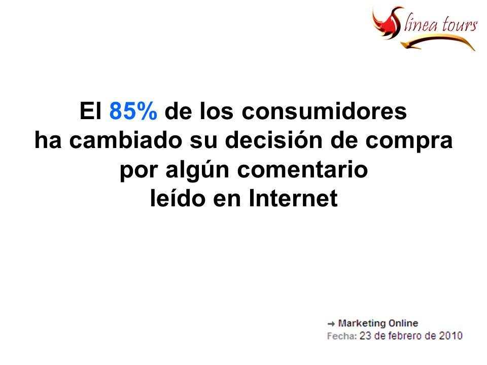 El 85% de los consumidores ha cambiado su decisión de compra por algún comentario leído en Internet