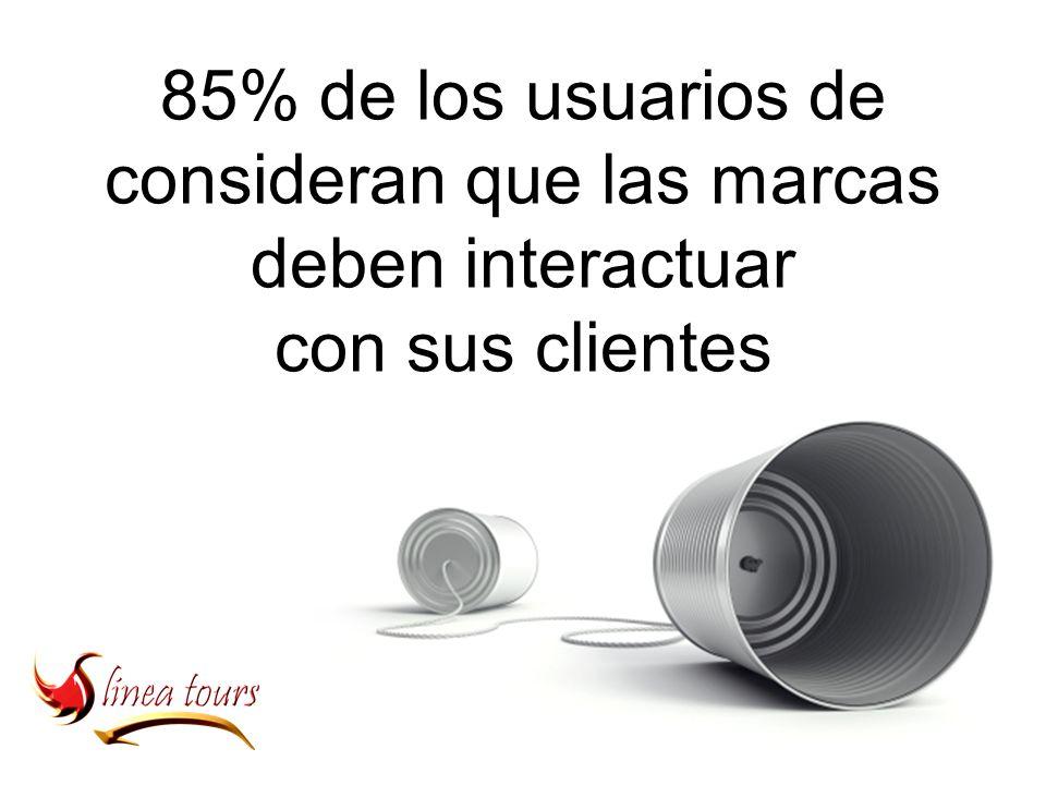 85% de los usuarios de consideran que las marcas deben interactuar con sus clientes
