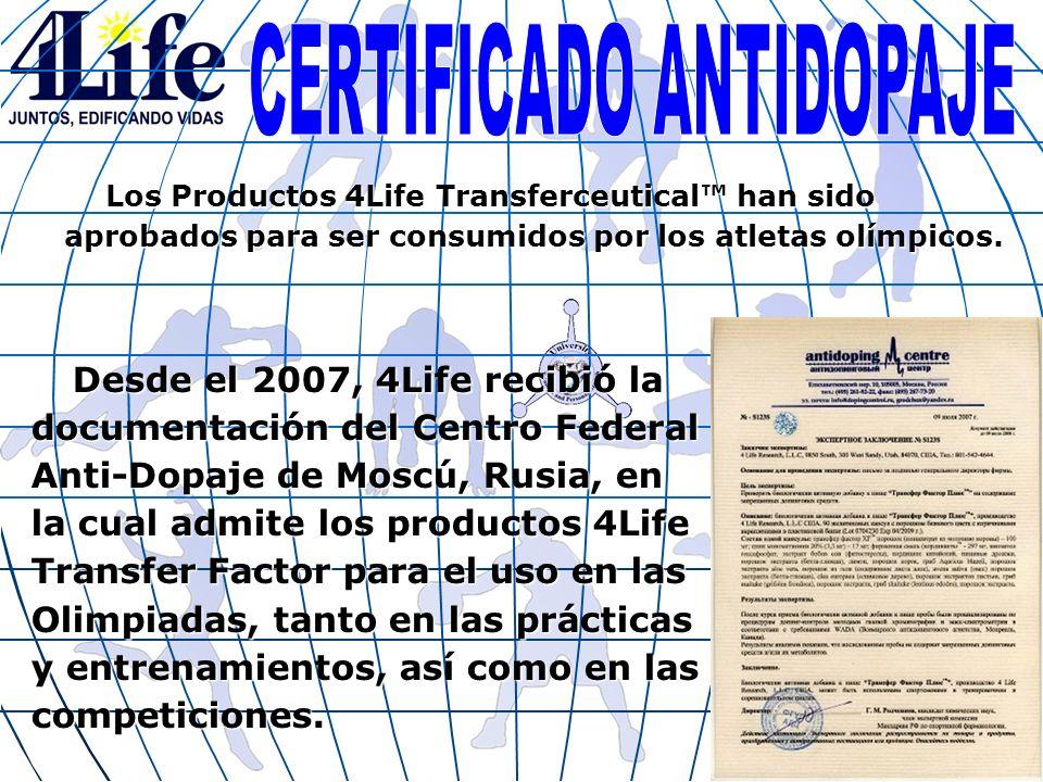 Desde el 2007, 4Life recibió la documentación del Centro Federal Anti-Dopaje de Moscú, Rusia, en la cual admite los productos 4Life Transfer Factor pa