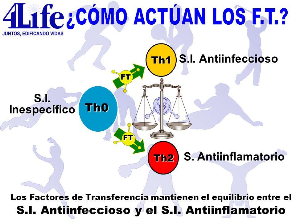 S.I. Inespecífico S.I. Antiinfeccioso S. Antiinflamatorio Th0 Th1 Th2 FT FT Los Factores de Transferencia mantienen el equilibrio entre el S.I. Antiin